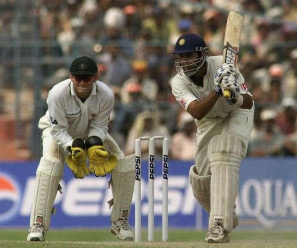 14 Mar 2001: VVS Laxman of India hits out, during day four of the 2nd Test between India and Australia played at Eden Gardens, Calcutta, India. X DIGITAL IMAGE Mandatory Credit: Hamish Blair/ALLSPORT