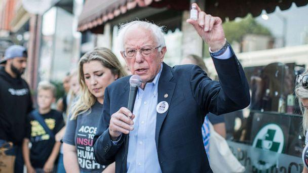 PHOTO:Democratic presidential candidate, Sen. Bernie Sanders (D-VT) talks about the cost of insulin in the USA versus Canada as he joins a group of people with diabetes on a trip to Canada for affordable Insulin, July 28, 2019, in Windsor, Canada. (Scott Eisen/Getty Images)