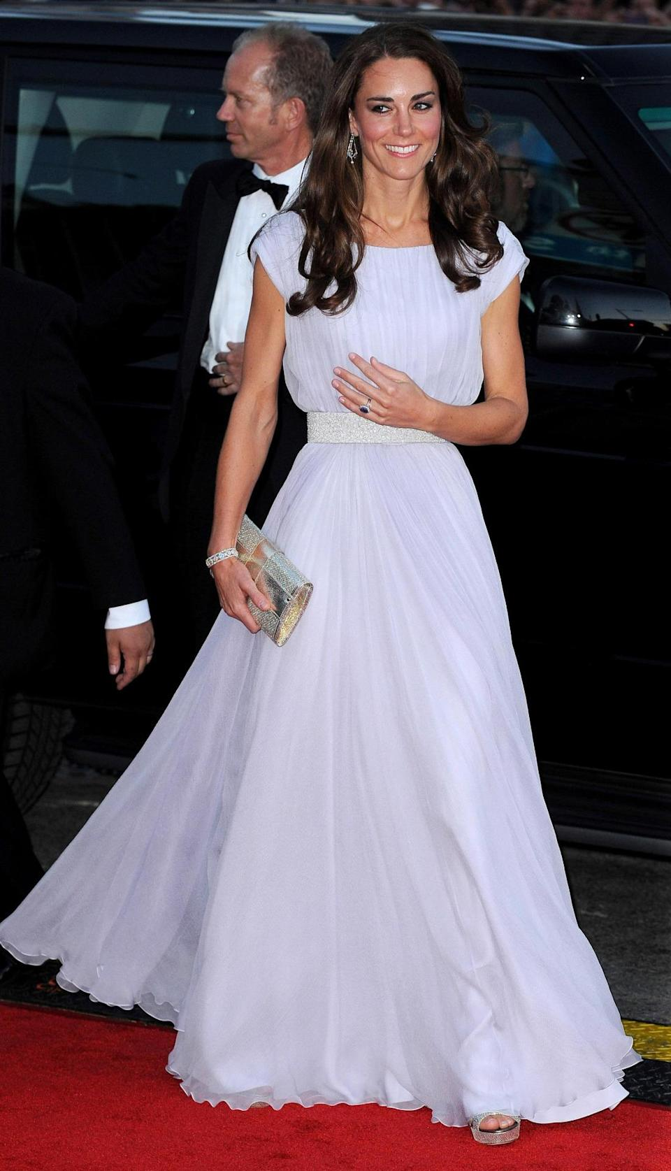 <p>Kate wowed the crowd at a BAFTA celebration in LA in a lilac Alexander McQueen gown. She paired the look with silver Jimmy Choo sandals and a matching clutch. </p><p><i>[Photo: PA]</i></p>