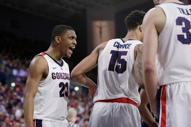 Gonzaga guard Zach Norvell Jr. (23) reacts during the second half of an NCAA college basketball game against Loyola Marymount in Spokane, Wash., Thursday, Jan. 17, 2019. (AP Photo/Young Kwak)