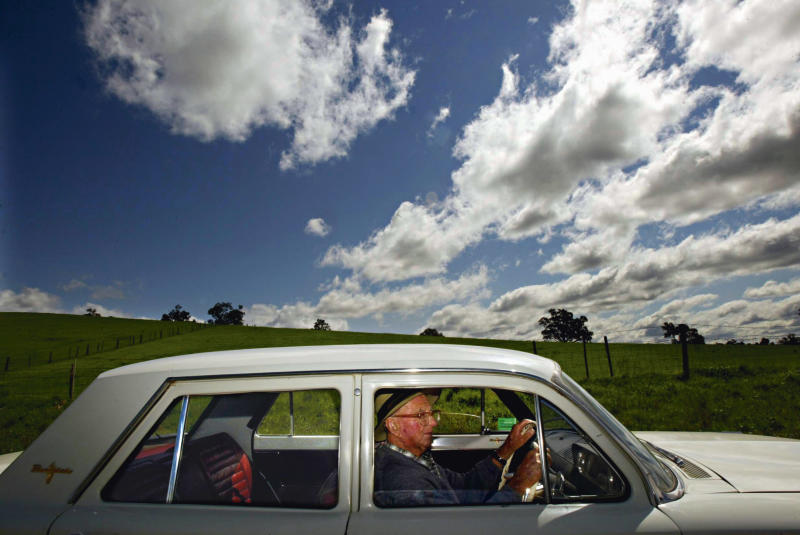 (AUSTRALIA OUT) 103 year old Jim Byrnes with his EH Holden Premier. Mr. Byrnes, who lives in Mudgee, has just successfully sat for his drivers licence again, 29 September 2005. SMH Picture by STEVEN SIEWERT (Photo by Fairfax Media via Getty Images/Fairfax Media via Getty Images via Getty Images)