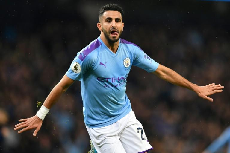 Riyad Mahrez celebrates scoring for Manchester City against Chelsea