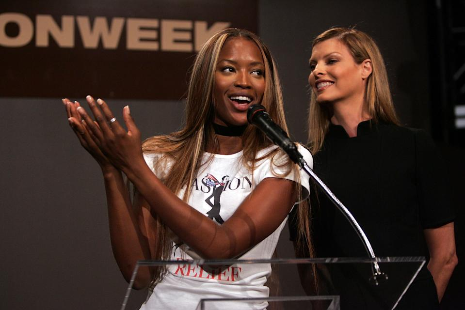 NEW YORK - SEPTEMBER 13:  Models Naomi Campbell and Linda Evangelista speak at the Press Conference for fashion Relief on day 5 of Olympus Fashion Week Spring 2006 at Bryant Park September 13, 2005 in New York City.  (Photo by Mark Mainz/Getty Images)