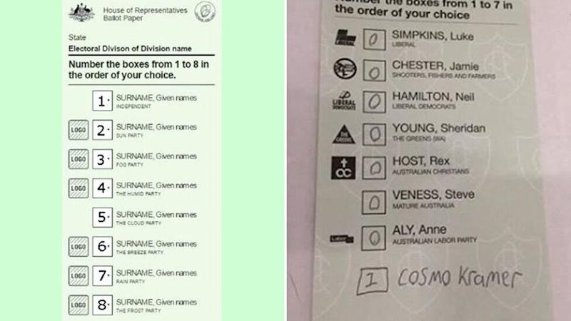 The numbered donkey vote on the left that counts and the informal vote on the right with zeros that would be informal in federal election