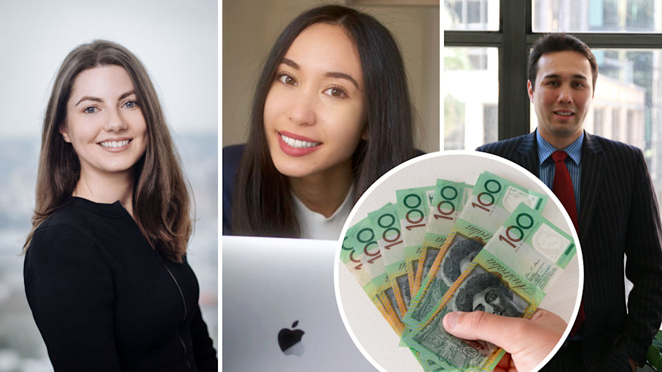 Image of Emilie O'Neill, Queenie Tan, James Gerrard with image of $100 bills superimposed