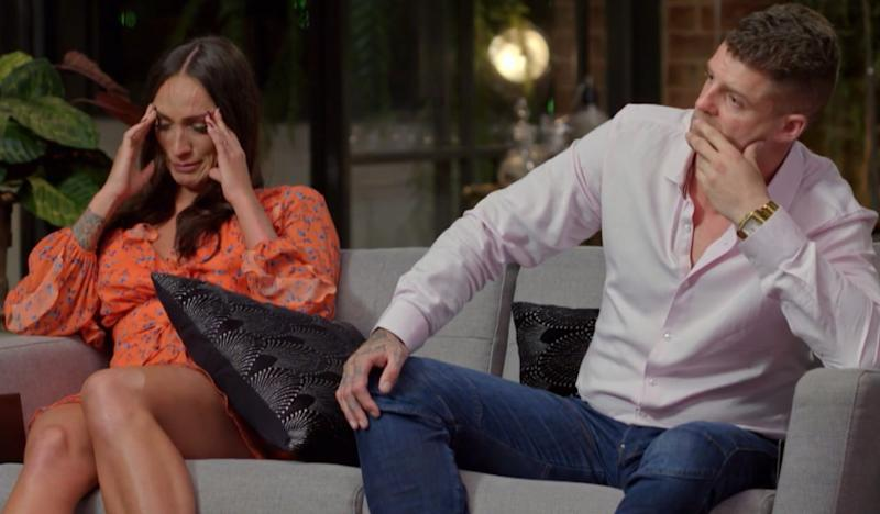"""MAFS' Hayley and David were forced to leave the experiment as their relationship was labelled """"toxic"""". Photo: Channel Nine"""