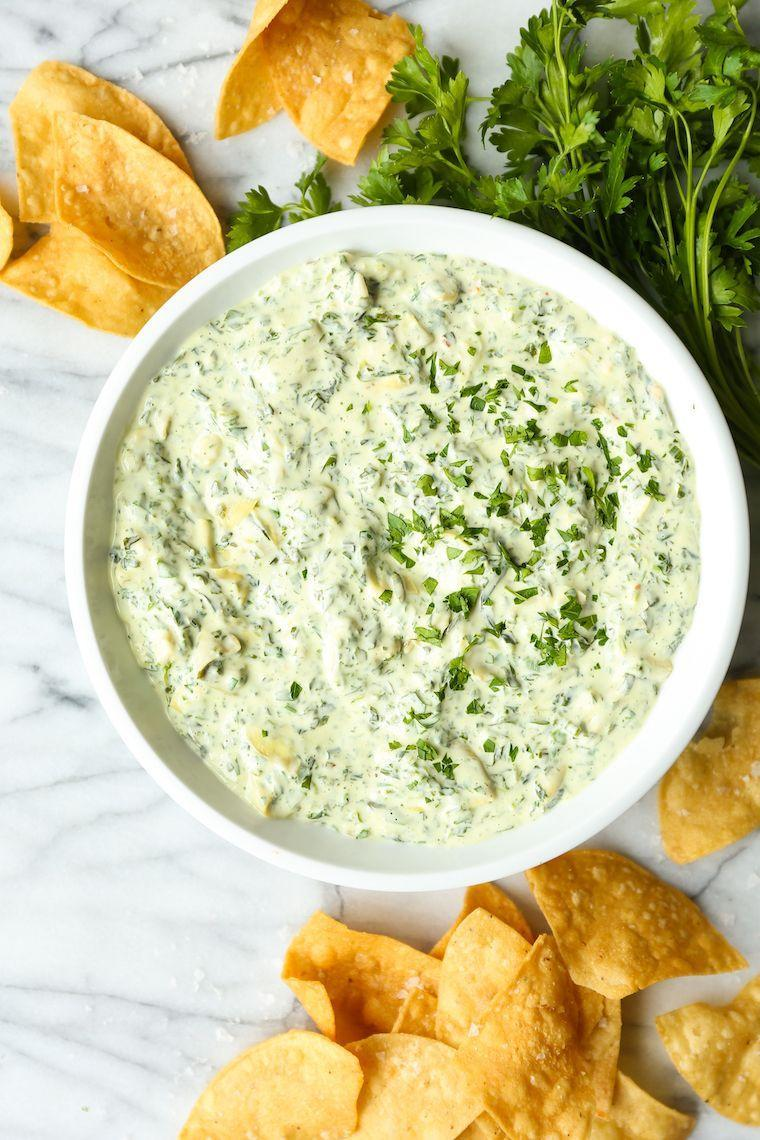 "<p>We're not even joking when we say this dip takes 3 minutes to cook in the Instant Pot. You can't make this stuff up!</p><p>Get the recipe from <a href=""https://damndelicious.net/2019/05/20/instant-pot-spinach-and-artichoke-dip/"" rel=""nofollow noopener"" target=""_blank"" data-ylk=""slk:Damn Delicious"" class=""link rapid-noclick-resp"">Damn Delicious</a>.</p>"