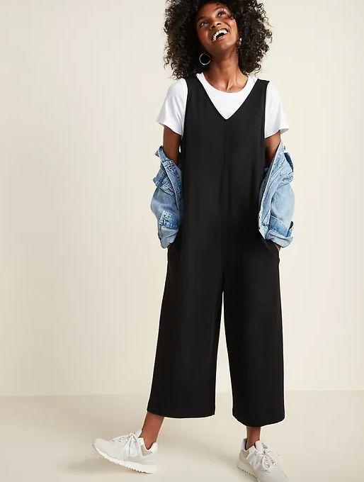 """This Sleeveless V-Neck Wide-Leg Jumpsuit for Women is available in sizes XS to XXL and two colors. <a href=""""https://oldnavy.gap.com/browse/product.do?pid=608215012&cid=5508&pcid=5508&vid=1&nav=meganav%3AWomen%3AOld%20Navy%20Active%3AShop%20All%20Activewear&grid=pds_227_698_1&cpos=229&kcid=CategoryIDs%3D5508&ctype=Listing&cpid=res637407112952575319#pdp-page-content"""" target=""""_blank"""" rel=""""noopener noreferrer"""">Get it on sale for 50% off (normally $35) at Old Navy</a>."""