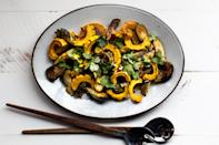"""Toss roasted skin-on squash and Brussels sprouts with a perfectly salty and spicy miso-harissa dressing. <a href=""""https://www.epicurious.com/recipes/food/views/miso-harissa-delicata-squash-and-brussels-sprouts-salad?mbid=synd_yahoo_rss"""" rel=""""nofollow noopener"""" target=""""_blank"""" data-ylk=""""slk:See recipe."""" class=""""link rapid-noclick-resp"""">See recipe.</a>"""