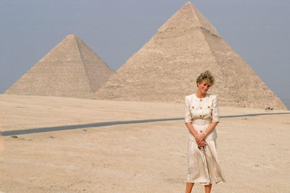 "<p>Always known for her fashion choices, Diana coordinated her outfits during her royal tour of Egypt in 1992 to match the landmarks she'd be visiting. She'd accepted an invite to visit from First Lady Suzanne Mubarak, and apparently called the landmarks she'd seen ""breathtaking."" She had a lasting impact on the country: After her passing, Egyptian television cleared its schedules and carried live coverage of her funeral.</p>"