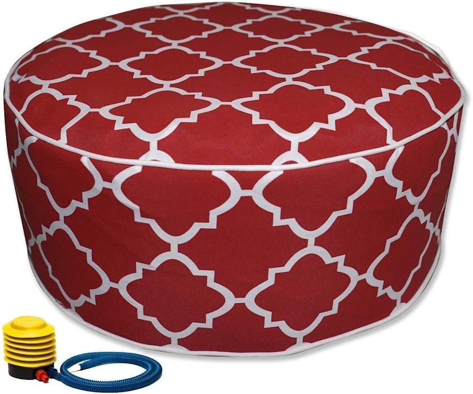 """Prop your feet up while you unwind outdoors. It also doubles as extra seating, just in case your friend or fur baby wants to join you.<br /><br /><strong>Promising review:</strong>""""Love this little ottoman! Pretty easy to inflate with the included pump. There is the inner part that is inflated and then the cover.<strong>I would recommend partially inflating the center and then putting on the cover.</strong>I bought this to be used on the patio and that's where it is right now. You do have to add air every once in a while but easy to do."""" —<a href=""""https://amzn.to/3dHKV3e"""" target=""""_blank"""" rel=""""nofollow noopener noreferrer"""" data-skimlinks-tracking=""""5580838"""" data-vars-affiliate=""""Amazon"""" data-vars-href=""""https://www.amazon.com/gp/customer-reviews/R1S6AH0OGDTY00?tag=bfgenevieve-20&ascsubtag=5580838%2C11%2C33%2Cmobile_web%2C0%2C0%2C1159979"""" data-vars-keywords=""""cleaning,fast fashion"""" data-vars-link-id=""""1159979"""" data-vars-price="""""""" data-vars-product-id=""""16176810"""" data-vars-retailers=""""Amazon"""">Amazon Customer</a><br /><br /><strong>Get it from Amazon for<a href=""""https://amzn.to/3tKjXxy"""" target=""""_blank"""" rel=""""nofollow noopener noreferrer"""" data-skimlinks-tracking=""""5580838"""" data-vars-affiliate=""""Amazon"""" data-vars-asin=""""B078JWFRKQ"""" data-vars-href=""""https://www.amazon.com/dp/B078JWFRKQ?tag=bfgenevieve-20&ascsubtag=5580838%2C11%2C33%2Cmobile_web%2C0%2C0%2C1159983"""" data-vars-keywords=""""cleaning,fast fashion"""" data-vars-link-id=""""1159983"""" data-vars-price="""""""" data-vars-product-id=""""8869552"""" data-vars-product-img=""""https://m.media-amazon.com/images/I/51ATQ1evNLL.jpg"""" data-vars-product-title=""""Kozyard Inflatable Stool Ottoman Used for Indoor or Outdoor, Kids or Adults, Camping or Home(Red)"""" data-vars-retailers=""""Amazon"""">$24.99</a>(available in 11 other colors).</strong><a href=""""https://img.buzzfeed.com/buzzfeed-static/static/2020-06/1/20/asset/6acdfaf64ff9/sub-buzz-399-1591044076-31.png"""" data-skimlinks-tracking=""""5580838""""></a>"""