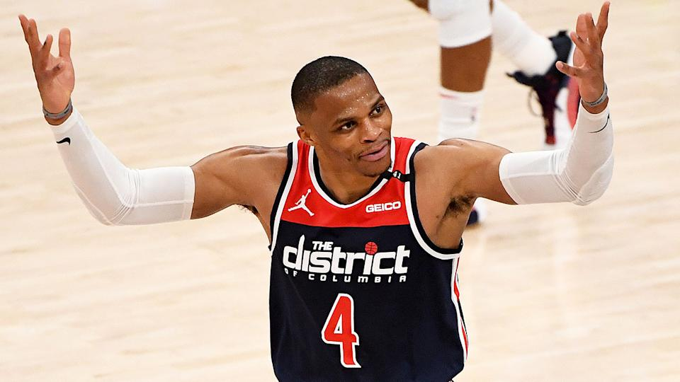 Russell Westbrook (pictured) reacts after a Wizards play.
