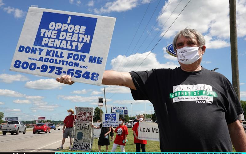 Protesters gathered in Terre Haute, Indiana to voice their opposition to the death penalty - Scott Olson/Getty Images North America