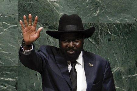 South Sudan's President Salva Kiir gestures before addressing the 69th United Nations General Assembly at the U.N. headquarters in New York