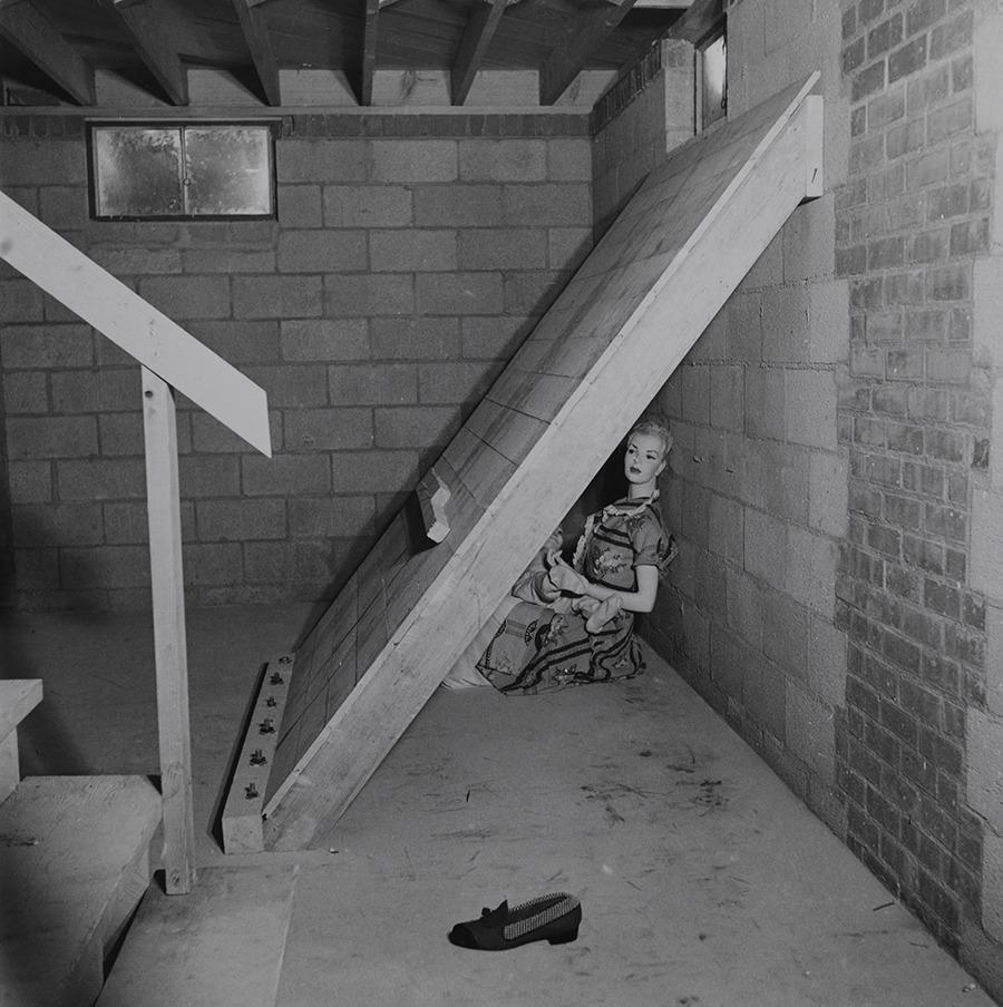 A shielded dummy in a basement for atomic bomb-testing in Nevada, March 1953.