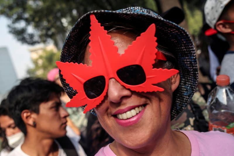 FILE PHOTO: A person wearing sunglasses in the shape of a marijuana leaf smiles during a demonstration outside Mexico's Senate building to mark the informal cannabis holiday, 4/20, in Mexico City