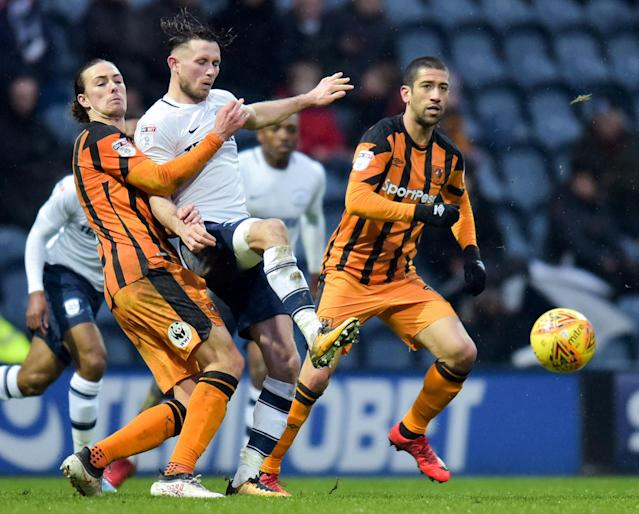 "Soccer Football - Championship - Preston North End vs Hull City - Deepdale, Preston, Britain - February 3, 2018 Preston's Alan Browne in action with Hull City's Jackson Irvine Action Images/Paul Burrows EDITORIAL USE ONLY. No use with unauthorized audio, video, data, fixture lists, club/league logos or ""live"" services. Online in-match use limited to 75 images, no video emulation. No use in betting, games or single club/league/player publications. Please contact your account representative for further details."