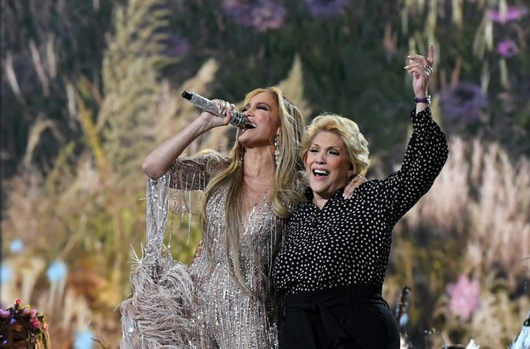 Jennifer Lopez performs with her mother Guadalupe Rodriguez at the 'Vax Live' concert, which will be aired on May 8