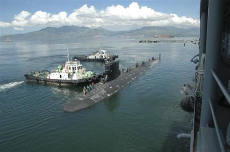 US Navy handout photo of the USS Hawaii in Subic Bay