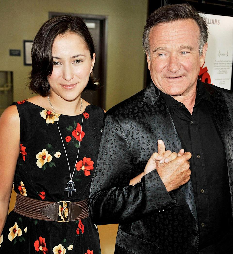"""Zelda Williams and her father actor Robin Williams arrive at the premiere of Magnolia Pictures' """"World's Greatest Dad"""" at The Landmark Theater on August 13, 2009 in Los Angeles, California."""