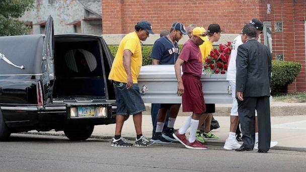 PHOTO: The remains of Derrick Fudge, 57, are carried into St. John Missionary Baptist Church for his visitation and funeral service on August 10, 2019 in Springfield, Ohio. (Scott Olson/Getty Images)