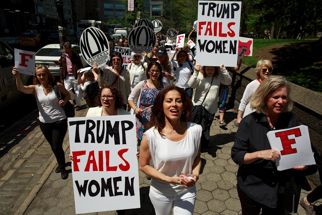 Activists in New York City protest President Trump's policies relating to women's issues, April 28, 2017. (Photo: Drew Angerer/Getty Images)