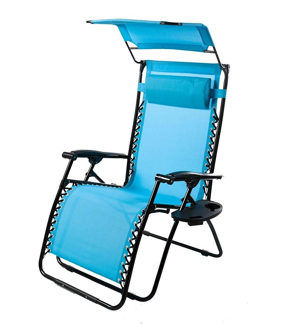 """<h3><h2>Plow & Hearth Deluxe Zero Gravity Chair</h2></h3><br>A portable chair that can take you from seated upright to lounging horizontal and virtually any angle you wish in effortless zero-gravity style. Oh, and it also comes crafted with an awning to block out the sun, headrest, cupholder, and phone pocket too. <br><br>Shop <strong><em><a href=""""https://www.plowhearth.com/"""" rel=""""nofollow noopener"""" target=""""_blank"""" data-ylk=""""slk:Plow & Hearth"""" class=""""link rapid-noclick-resp"""">Plow & Hearth</a></em></strong><br><br><strong>Plow & Hearth</strong> Deluxe Zero Gravity Chair With Awning, $, available at <a href=""""https://go.skimresources.com/?id=30283X879131&url=https%3A%2F%2Fwww.plowhearth.com%2Fp%2F39214%2BLBL"""" rel=""""nofollow noopener"""" target=""""_blank"""" data-ylk=""""slk:Plow & Hearth"""" class=""""link rapid-noclick-resp"""">Plow & Hearth</a>"""