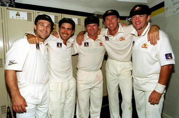3 Dec 2000:  The players who have played in all of the twelve victories (l-r) Michael Slater, Justin Langer, Stephen Waugh, Glenn McGrath and Mark Waugh as Australia celebrate their record breaking win during the third and final days play of the Second Test between Australia and West Indies at the WACA Cricket ground in Perth, Australia. Mandatory Credit: Hamish Blair/ALLSPORT