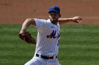 New York Mets pitcher Steven Matz delivers against the Atlanta Braves during the first inning of a baseball game Saturday, July 25, 2020, in New York. (AP Photo/Adam Hunger)