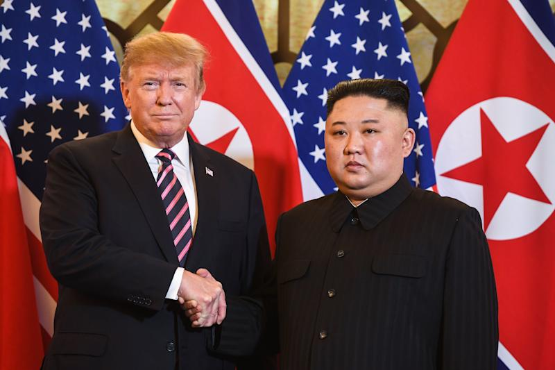 U.S. President Donald Trump shakes hands with North Korea's leader Kim Jong Un before a meeting at the Sofitel Legend Metropole hotel in Hanoi on Feb. 27, 2019. (Photo: Saul Loeb/AFP/Getty Images)