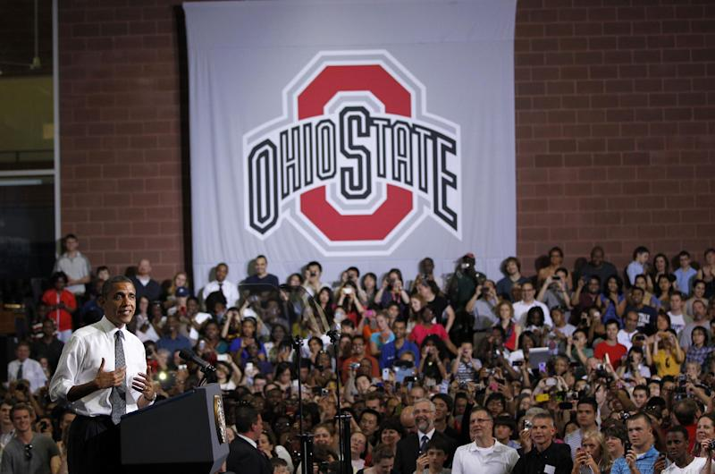 President Barack Obama speaks at Ohio State University in Columbus, Ohio, Thursday, March, 22, 2012. (AP Photo/Pablo Martinez Monsivais)