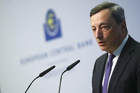 ECB President Draghi is pictured during a news conference in Frankfurt