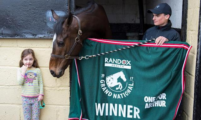 """<span class=""""element-image__caption"""">Grand National winner One For Arthur meets a new fan at his stable near Kinross on Sunday. His trainer, Lucinda Russell, could be back among the winners on Monday at Kelso.</span> <span class=""""element-image__credit"""">Photograph: Ian Rutherford/PA</span>"""