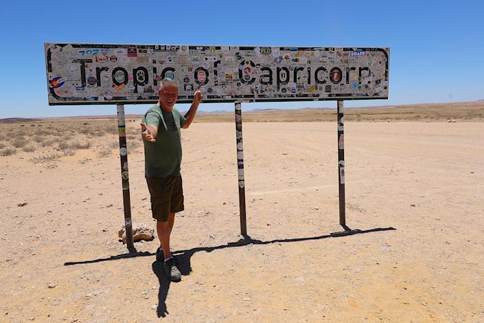 I reached the Tropic of Capricorn finally, and I don't think I was the first to make it there. Thanks for my fellow travelers from Austria, who stopped and asked me to take photos of them — and then snapped one of me. (Photo: Gordon Donovan/Yahoo News)