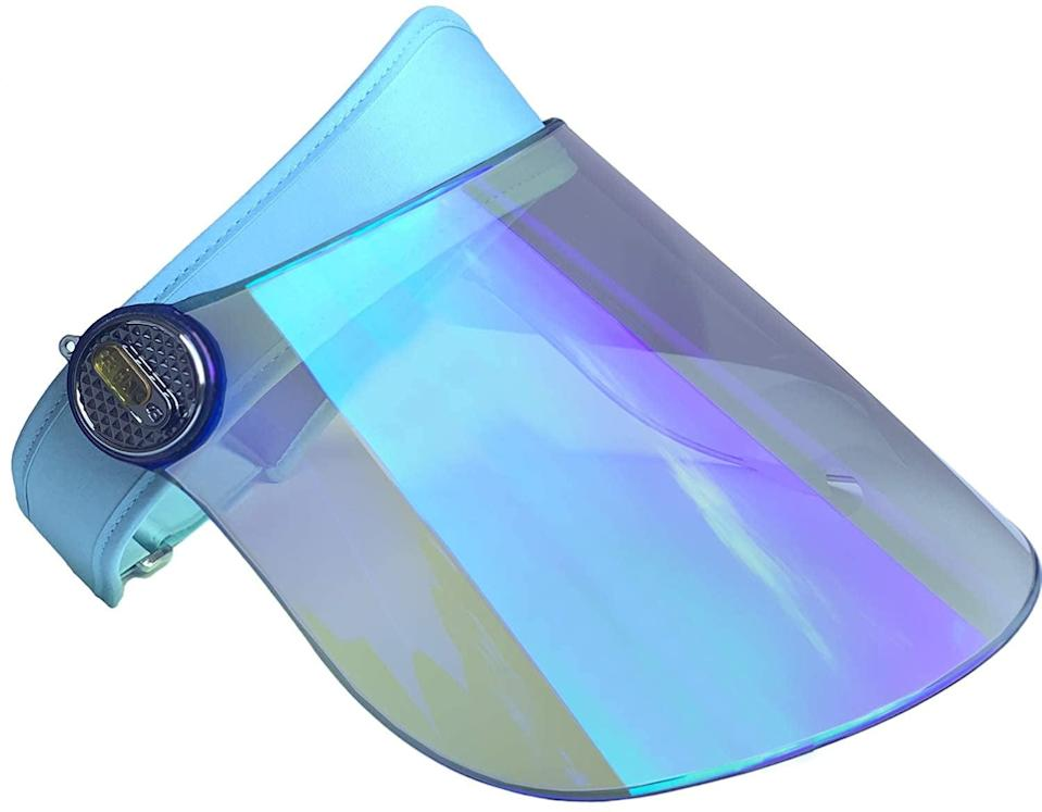 <p>Add a pop of color with this iridescent-blue reflective <span>TRIKTON Sun Visor Hat with Blue Advanced Electroplated Lens</span> ($27). It has anti-glare PC lens with a cotton sweatband.</p>