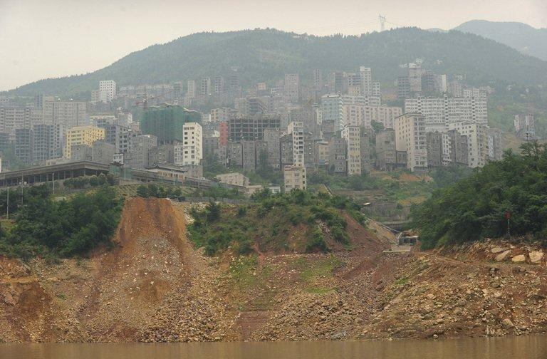 This picture taken on June 16, 2011 shows a landslide on the Yangtze River in Badong, in Hubei province. From tigers to dolphins, animal populations in many of China's ecosystems have plummeted under decades of development and urbanisation, a World Wildlife Fund study said