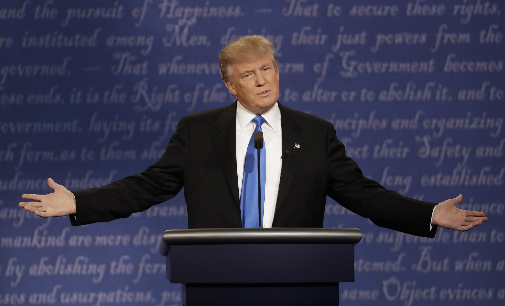 Republican nominee Donald Trump during the presidential debate on Sept. 26, 2016