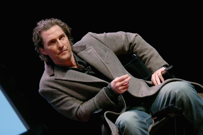 """AUSTIN, TEXAS - JANUARY 21:  Matthew McConaughey participates in a Q&A after a special screening of his new film """"The Gentlemen"""" at Hogg Memorial Auditorium at The University of Texas at Austin on January 21, 2020 in Austin, Texas.  (Photo by Gary Miller/Getty Images)"""