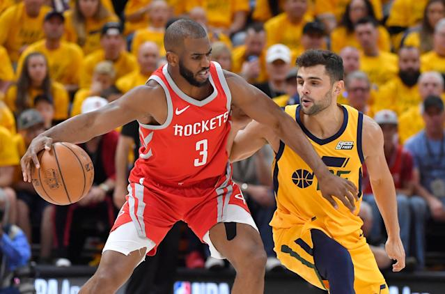 "<a class=""link rapid-noclick-resp"" href=""/nba/players/3930/"" data-ylk=""slk:Chris Paul"">Chris Paul</a> let an expletive fly in a live TV interview after Houston's Game 4 win in Utah on Sunday. (Getty Images)"