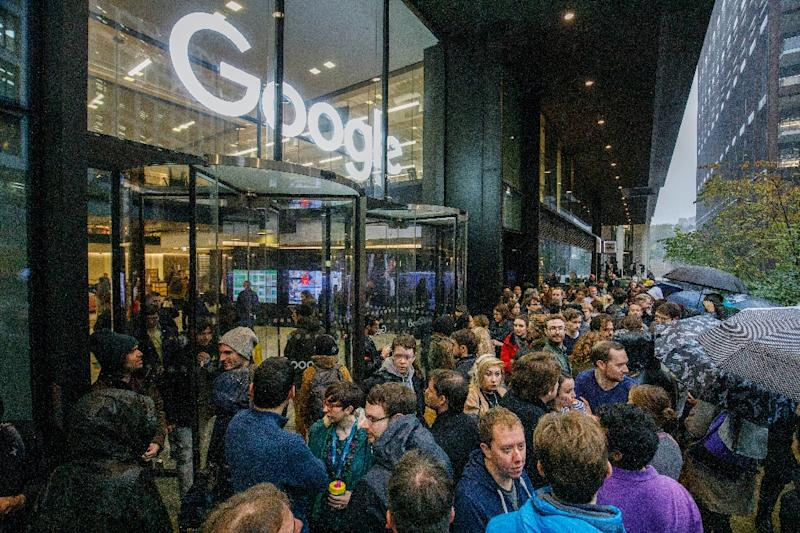 Google staff in London were among employees to walkout as part of a global campaign over the US tech giant's handling of sexual harassment (AFP Photo/Tolga Akmen)