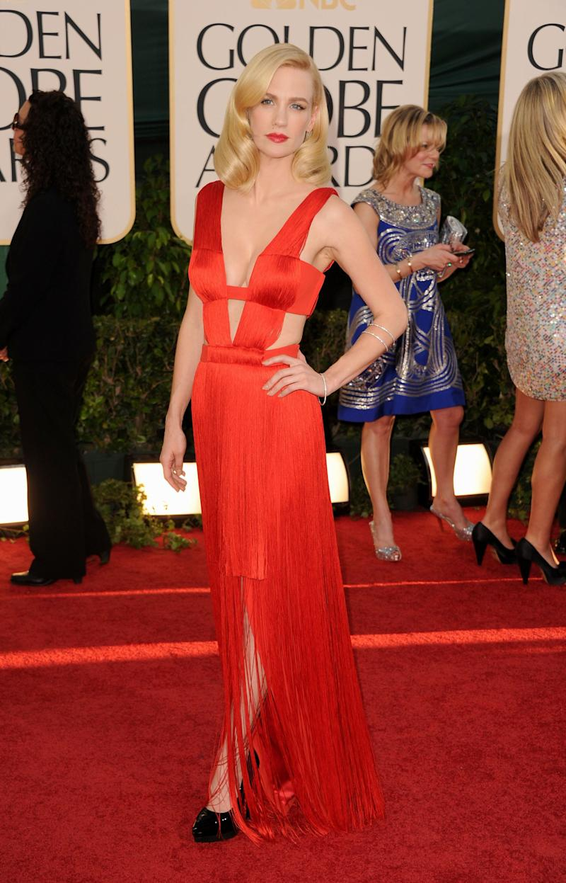 Wearing a Versace dress atthe 68th Annual Golden Globe Awards held at the Beverly Hilton hotel on Jan. 16, 2011, in Beverly Hills, California.
