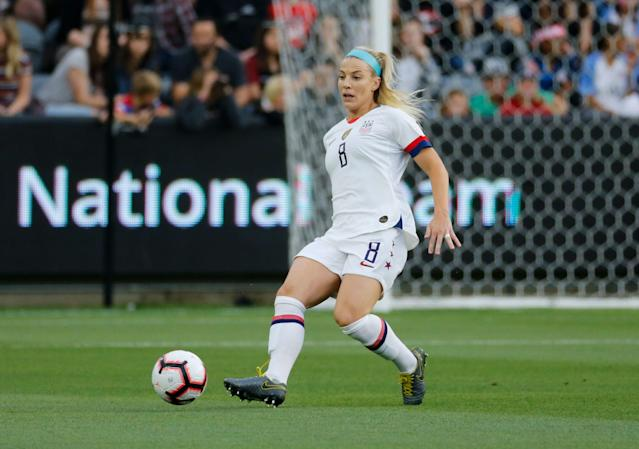 U.S. midfielder Julie Ertz in action during an international friendly soccer match vs. Belgium on Sunday, April 7, 2019, in Los Angeles. United States won 6-0. (AP Photo)