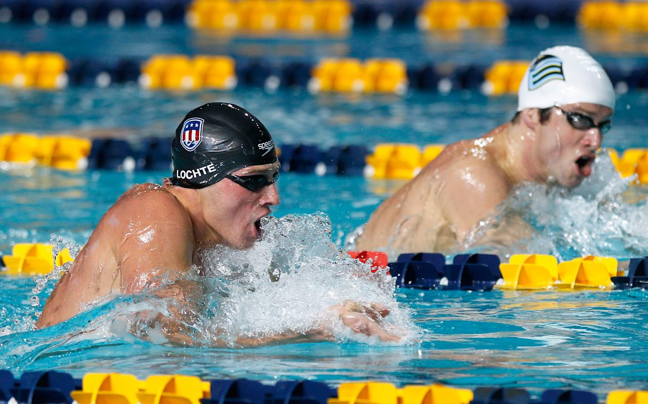 ATLANTA, GA - DECEMBER 17:  Ryan Lochte competes in the Men's 200m Individual Medley during the Duel in the Pool at the Georgia Tech Aquatic Center on December 17, 2011 in Atlanta, Georgia.  (Photo by Kevin C. Cox/Getty Images)