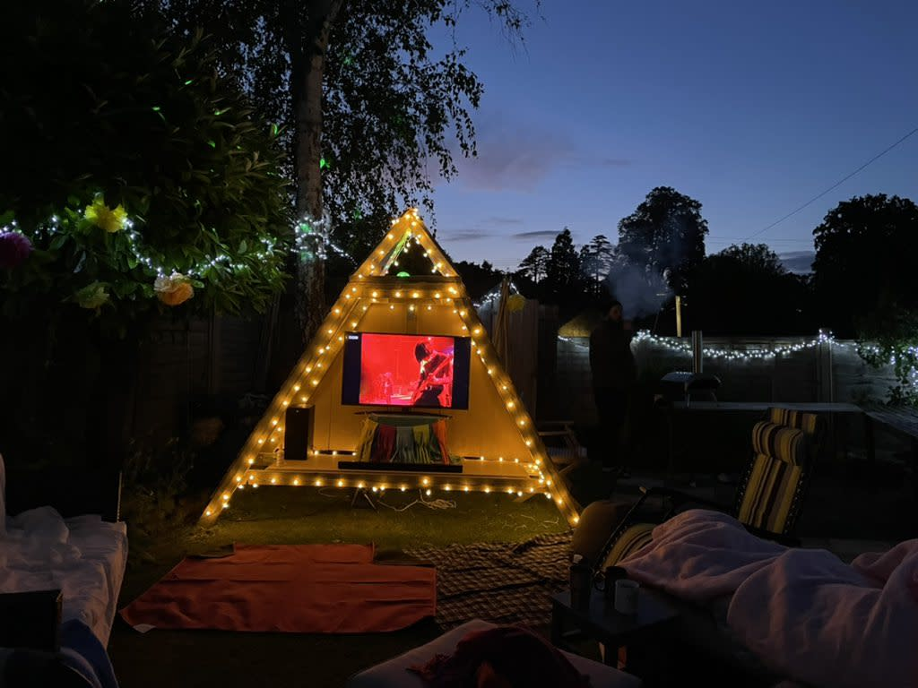 The homemade Pyramid Stage in Felicity Cooney and Freddy Bevan's garden (Felicity Cooney/PA)