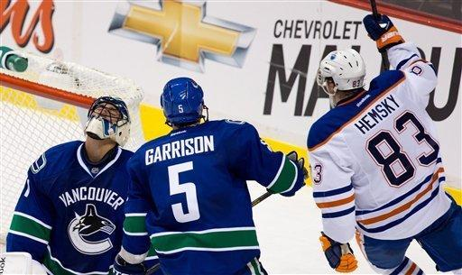 Vancouver Canucks' goalie Roberto Luongo, left, reacts as Jason Garrison, center, looks on after Edmonton Oilers' Ales Hemsky scored the game-tying goal during the third period of an NHL hockey game in Vancouver, British Columbia, on Sunday, Jan. 20, 2013. (AP Photo/The Canadian Press, Darryl Dyck)
