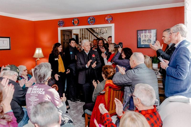 Michael Douglas (in black) campaigning for Mike Bloomberg in Wisconsin on Saturday   Mike Bloomberg 2020