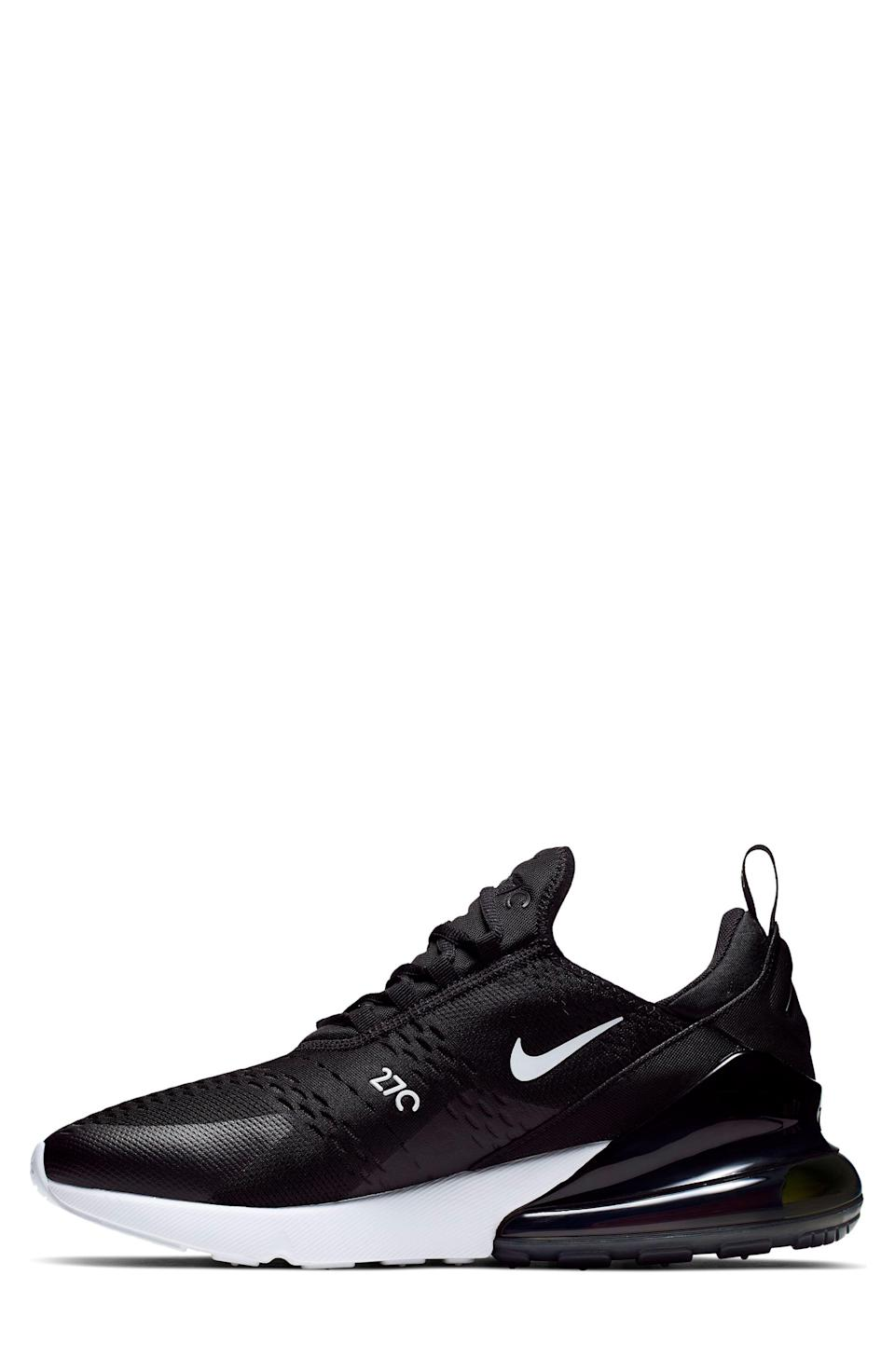 """<p><strong>NIKE</strong></p><p>nordstrom.com</p><p><a href=""""https://go.redirectingat.com?id=74968X1596630&url=https%3A%2F%2Fwww.nordstrom.com%2Fs%2Fnike-air-max-270-sneaker-men%2F4700645&sref=https%3A%2F%2Fwww.menshealth.com%2Fstyle%2Fg33510339%2Fnordstrom-anniversary-sale-2020%2F"""" rel=""""nofollow noopener"""" target=""""_blank"""" data-ylk=""""slk:BUY IT HERE"""" class=""""link rapid-noclick-resp"""">BUY IT HERE </a></p><p><strong><del>$150</del> $111.90 (25% off)</strong></p><p>Between its cloud-like cushioning and snug, knit uppers, these Nike sneakers are the perfect combination of stylish and functional. </p>"""