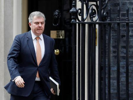 FILE PHOTO: Britain's Conservative Party Chairman Brandon Lewis is seen outside Downing Street in London, Britain, March 26, 2019. REUTERS/Peter Nicholls