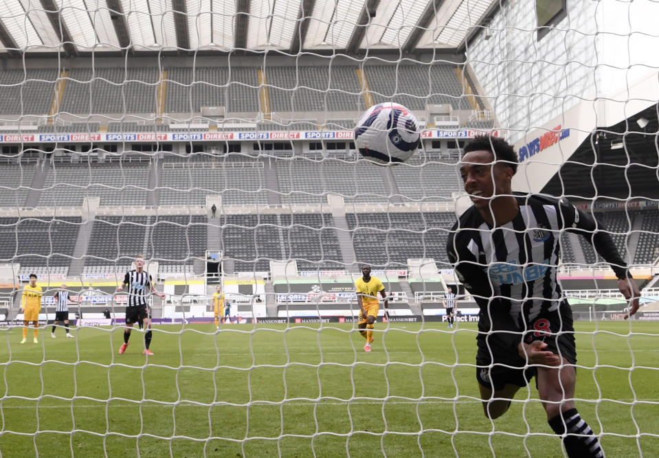 Newcastle's Joe Willock celebrates after scoring his side's second goal during the English Premier League soccer match between Newcastle United and Tottenham Hotspur at St. James' Park in Newcastle, England, Sunday, April 4, 2021. (Stu Forster/Pool via AP)