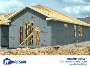 Barricade Thermo-Brace 3-in-1 structural sheathing being used on a jobsite.